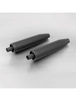 2x CUSTOM Exhaust muffler no cat., no end cap, stainless steel black, EG/ABE/EEC