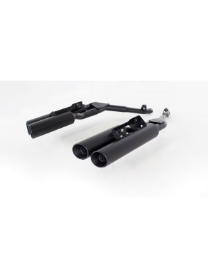 Quad L/R CUSTOM exhaust for BMW K 1600 Bagger, Ø 102 mm, angled & rolled outlets, incl. connecting tubes, with removable sound insert  stainless steel black, without EC homologation