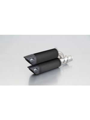 RSC Dual Flow, slip on (muffler with connecting tube incl. Euro 4 cat.) with heat shield for Vespa GTS 300 ie Super / GTV 300 Sei Giorni, stainless steel black, with EC homologation