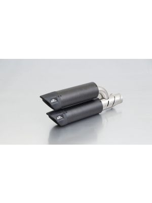 RSC Dual Flow, slip on (muffler with connecting tube incl. Euro 4 cat.) with heat shield for Vespa GTS 300 ie Super / GTV 300 Sei Giorni, carbon, with EC homologation